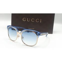 Gucci 4241 occhiali da sole donna Made in Italy colore cobalto trasparente oro